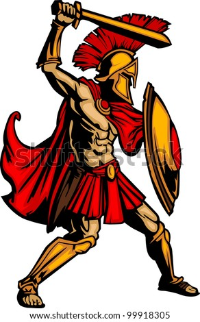 Greek Spartan or Trojan Soldier holding a shield and sword - stock vector