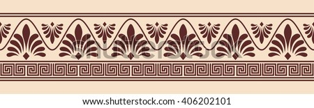 Greek style seamless ornament. Brown pattern on a beige background.