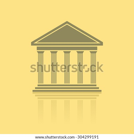 Greek temple front, vector - stock vector