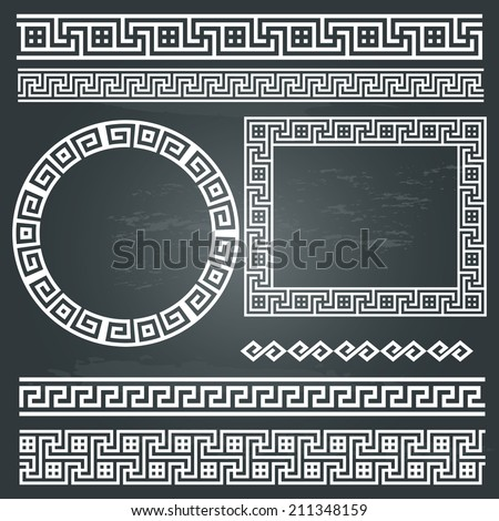 Greek traditional meander border set on chalkboard background. Vector antique frame pack. Decoration element patterns in white colors. Ethnic collections. Vector illustrations.  - stock vector