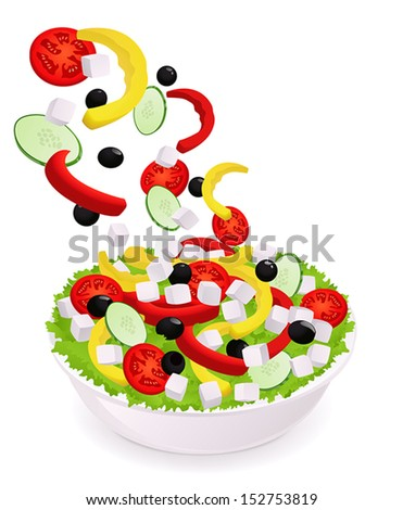 Greek Vegetable salad (pepper, tomatoes, olives, cheese, cucumber) with falling ingredients in bowl (dish). Isolated Vector Illustration on white background - stock vector
