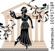 greek woman with amphora temple and olive branches background - stock vector