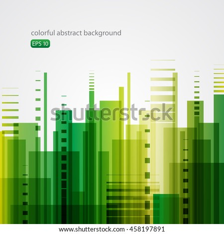 Green abstract background - city - stock vector