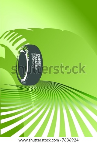 Green abstract background with tire - stock vector