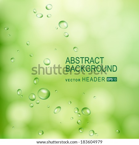 Green abstract background with water drops on glass.  Vector Illustration - stock vector