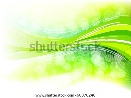 green abstract background with wave - stock vector