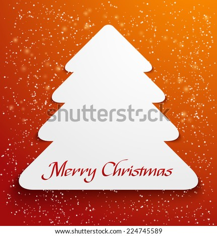 Green abstract christmas tree applique with snow particles. Vector illustration - stock vector