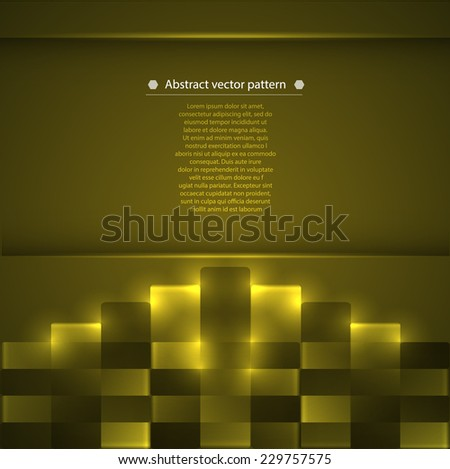 green abstract geometric pattern with glowing accents. Vector illustration - stock vector