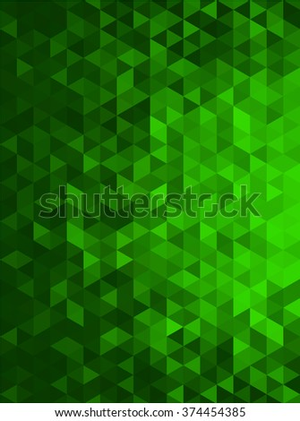 Green Abstract Geometric Triangle Vertical Background - Vector Illustration Abstract Polygon Vector Pattern - Portrait Orientation - stock vector
