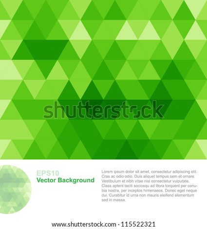 Green abstract geometrical background - stock vector