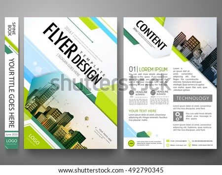 Green Abstract hexagon in cover book portfolio presentation poster. Brochure design template vector.City design on A4 brochure layout. Flyers report business magazine poster layout portfolio template.