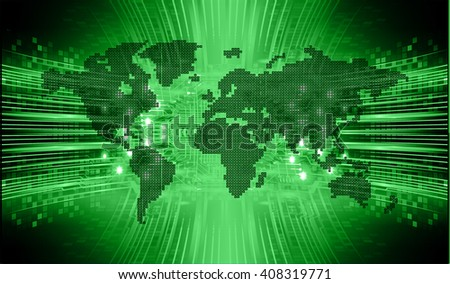 green abstract hi speed internet technology background illustration. eye scan virus computer. move motion. vector. world map
