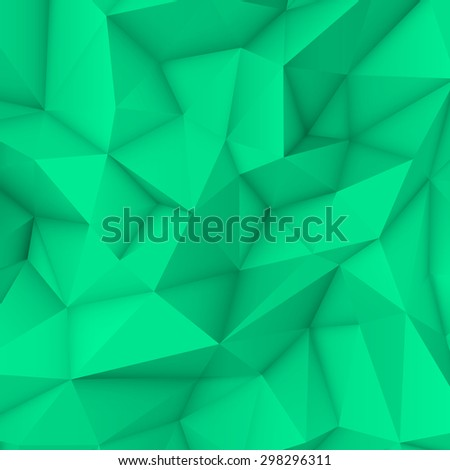 Green abstract low-poly, polygonal triangular mosaic background for design concepts, posters, banners, web, presentations and prints. Vector illustration. Realistic 3D render design template. - stock vector