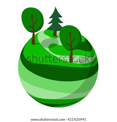 Green abstract planet with trees - stock vector