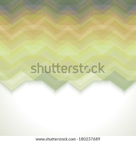 Green Abstract Retro Vector Background, Fashion Zigzag Pattern of Color Stripes - stock vector