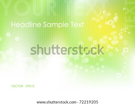 Green abstract spring background with green to white gradient, circles, dots and abstract sun - bokeh design - vector, eps10 - stock vector