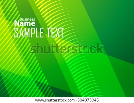 Green abstract template for card or banner. Metal Background with waves and reflections
