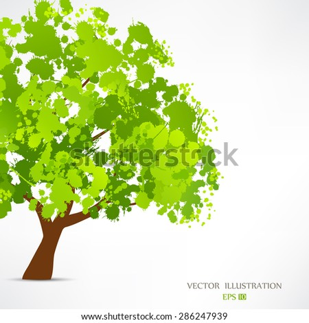 Green abstract tree forming by blots. Vector illustration - stock vector