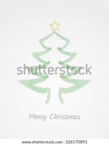 green abstract tree with wish for christmas on green gradient background  - stock vector