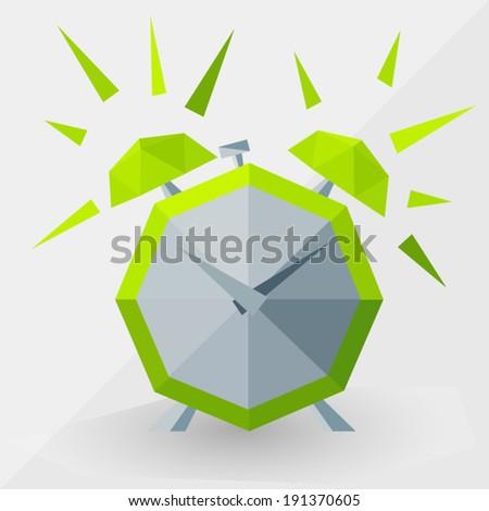 Green alarm clock by triangles,  polygon  vector illustration - stock vector