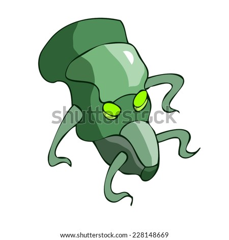 Green Alien Head with shiny eyes Isolated on a White Background.  - stock vector