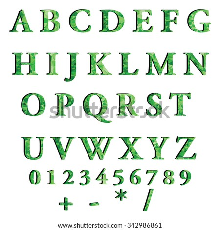 Green Alphabet Polygon Style, Creative Design Templates