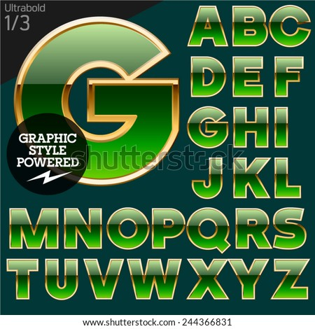 Green alphabet with golden border. Bold. File contains graphic styles available in Illustrator. Set 1 - stock vector