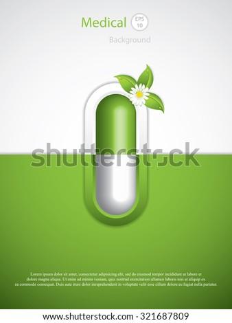 Green alternative medication concept - Homeopathy brochure vector - stock vector
