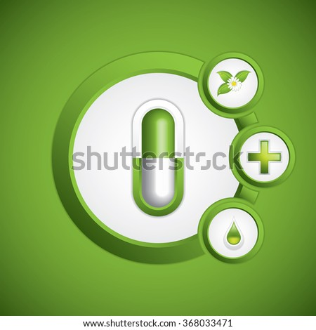 Green alternative medication concept - Medical background vector - stock vector