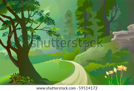 Green Amazon forest with lonely pathway - stock vector