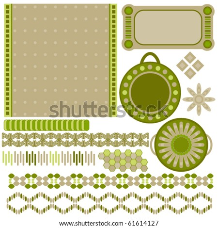 Green and beige tags and trims collection over white background