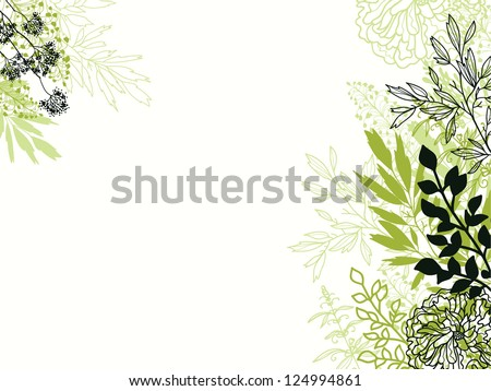 Green and black floral background backdrop - stock vector