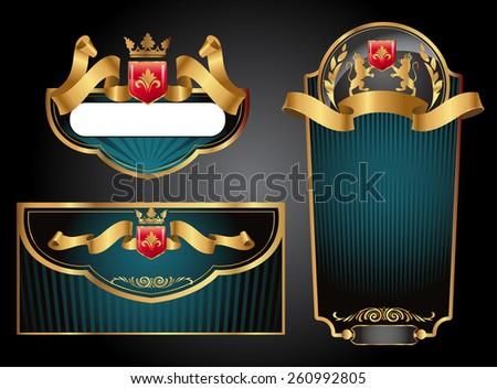 Green and black gold-framed set ot label, envelope and certificate. Vector illustration. All elements separately.  - stock vector