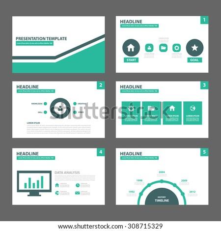 Green and black multipurpose presentation template flat design set for brochure flyer marketing and advertising  - stock vector