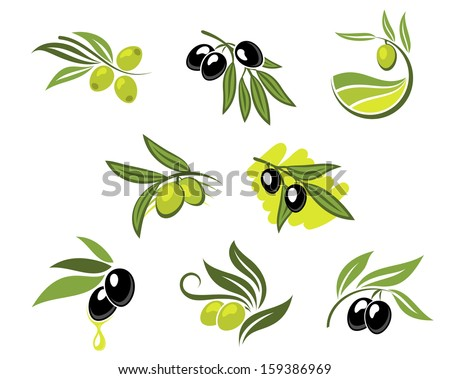 Green and black olives set for agriculture or idea of logo. Jpeg version also available in gallery - stock vector