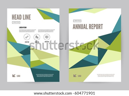 Green Blue Annual Report Leaflet Brochure Vector 604771901 – Geometric Flyer Template
