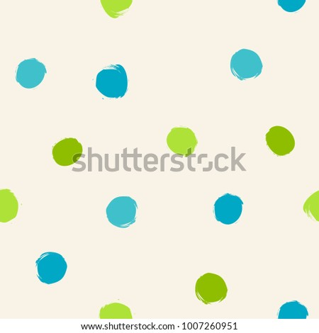 Green And Blue Art Brush Polka Dots Seamless Pattern Wallpaper Background Texture