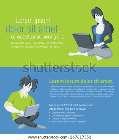 Green and blue background with cartoon couple working on laptop computer  - stock vector