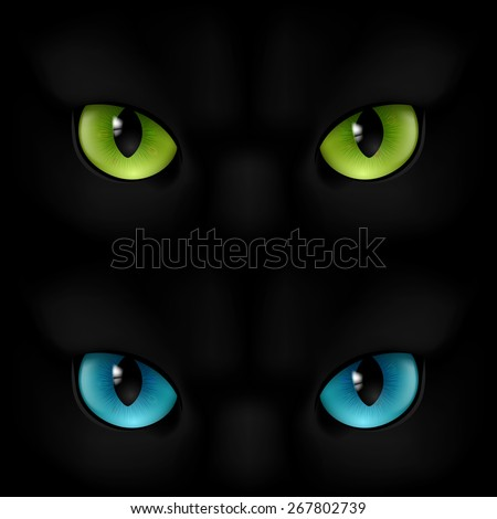 Green and blue cats eyes on a black background - stock vector