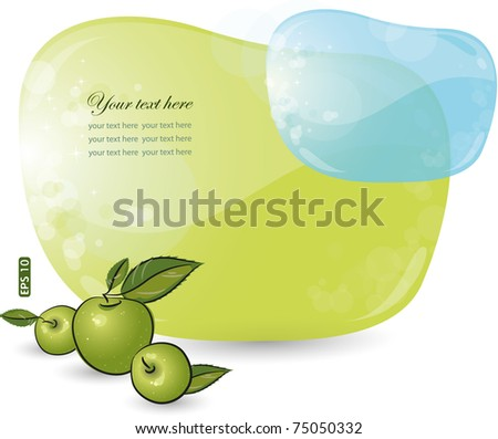 Green and blue form with apple, eps-10 - stock vector