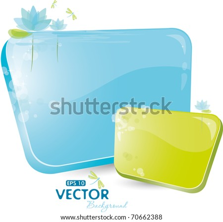Green and blue form with lily, eps-10 - stock vector