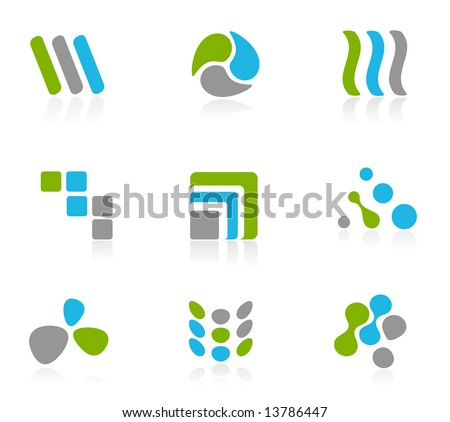 Green and blue logo icons - stock vector
