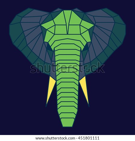 Green and blue low poly elephant