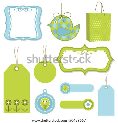 green and blue tags, frames and bag