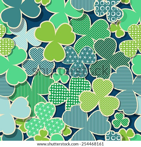 Green  and blue textured background for St. Patrick's Day, seamless pattern. - stock vector