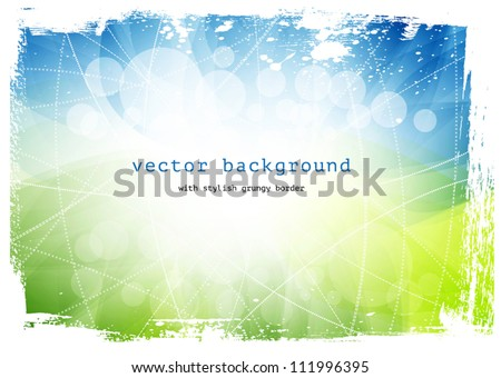 Green and blue vector smooth modern wavy background with grungy border - stock vector