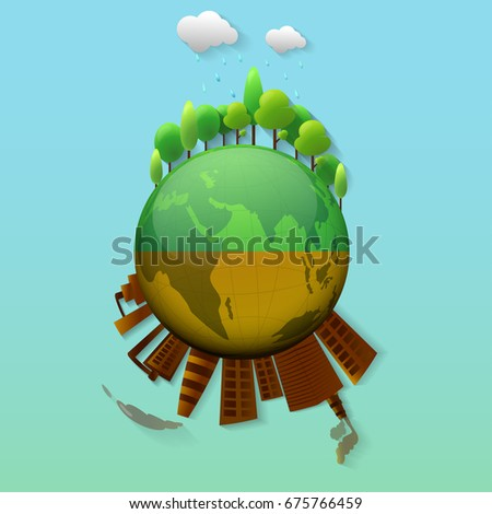 Green and brown Earth Globe with illustration of trees and city view.