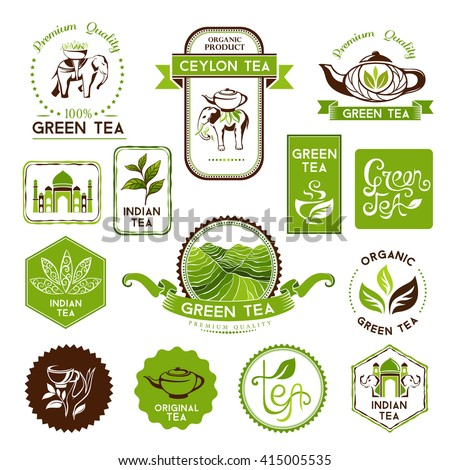 Green and ceylon tea labels, badges and banners. Decorative elements for package design - stock vector