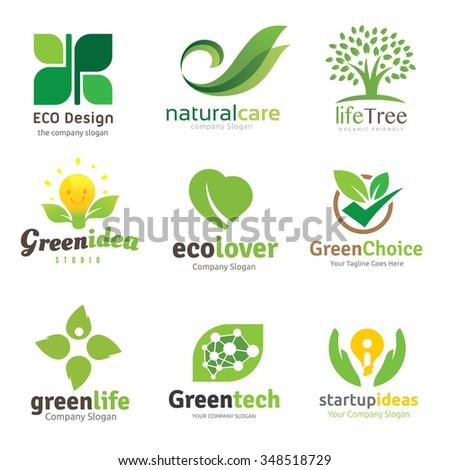 Green and Eco lover logo set,Logo set,logo collection,Vector logo template - stock vector