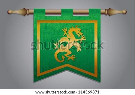 Green and gold medieval banner flag with cloth texture and symbol of a dragon - stock vector